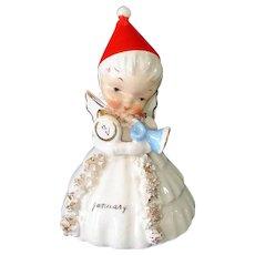 Napco 1956 January New Years Angel Bell Figurine