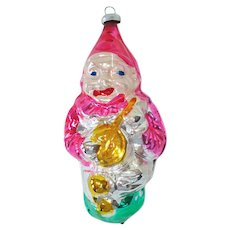 Clown With Banjo West Germany Glass Christmas Ornament