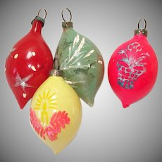 German Unsilvered Feather Tree Teardrop Glass Christmas Ornaments