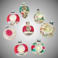 Double Indent USA 1950s Glass Christmas Ornaments