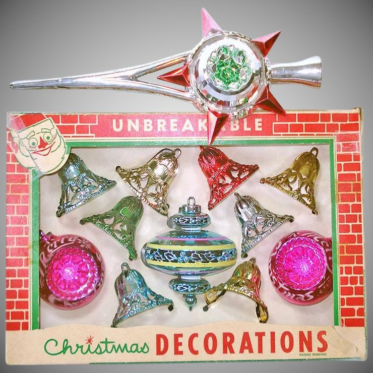 box 1950s bradford plastic christmas ornaments bonus tree top - 1950s Christmas Decorations