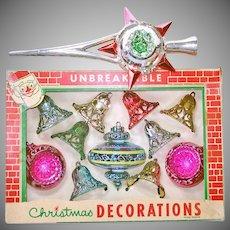 Box 1950s Bradford Plastic Christmas Ornaments Bonus Tree Top