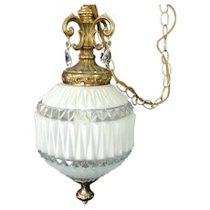 Satin White Faceted Glass Pendant Hanging Swag Lamp