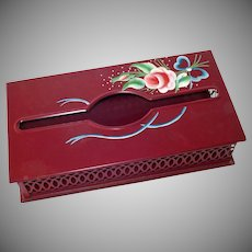 Pink Rose on Maroon Tole Painted Tin Tissue Box