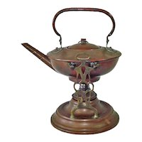 Antique Copper Spirit Tea Kettle With Stand