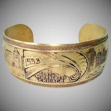 1933 Chicago Worlds Fair Brass Cuff Bracelet