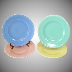 Set 4 Vernon Kilns Native California Pastel Dinner Plates
