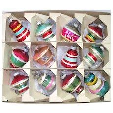 Box 1950s Shiny Brite UFO Shapes Bells Christmas Ornaments