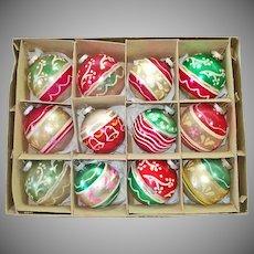 Box Shiny Brite 1950s Glittered Glass Christmas Ornaments