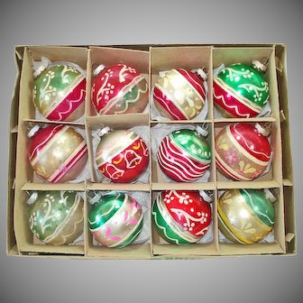 Box Shiny Brite 1950s Glittered Glass Christmas Ornaments