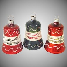 3 German Blown Glass Clapper Bell Christmas Ornaments