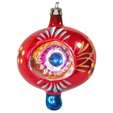 Poland Fancy Red Double Indent Finial Glass Christmas Ornament