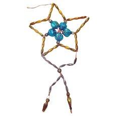 Czech Glass Beaded Star Dangle Christmas Ornament