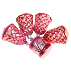 Pink Red West Germany Bells Glass Christmas Ornaments