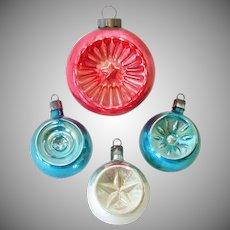 1930s Premier Glass Indent Christmas Ornaments Patriotic Colors