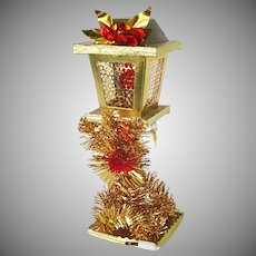 Gold Red Tinsel Lamp Post Lighted Christmas Decoration in Box