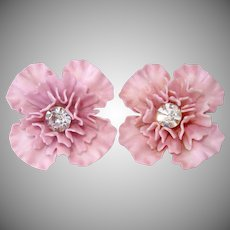 Lavender Plastic Flower Clip Earrings With Rhinestones