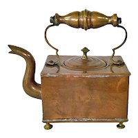 Victorian Square Copper Tea Kettle English VR Crown Mark