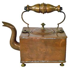 Victorian Square Copper Tea Kettle English VR Crown Mark