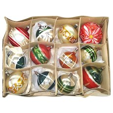 Box German Blown Glass Christmas Ornaments