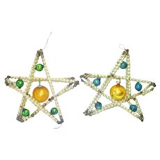 Pair Dimensional Beaded Stars Glass Christmas Ornaments