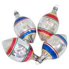 Premier 1940s Glass Teardrop Indent Christmas Ornaments