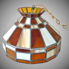 Hanging Stained Glass Lamp Crackle Glass Amber Globe