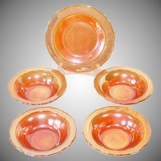 Federal Glass Normandie Sunburst 4 Dessert Fruit Bowls