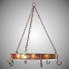 Vintage Hanging Solid Copper Round Pot Rack