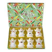 1950s Japan Porcelain Angels Christmas Ornaments Mint in Box