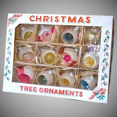 Box Poland Glass Mica Snowball Indent Glass Christmas Ornaments