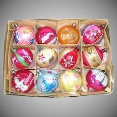 Box 1950s Poland Glitter Decorated Glass Christmas Ornaments