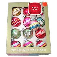 Shiny Brite Box Small Stripes, Stenciled Glass Christmas Ornaments