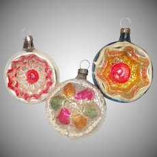 Antique German Glass Deep Indent Christmas Ornaments