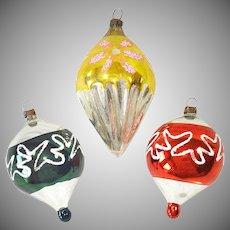 German Cone Drop Glass Christmas Ornaments