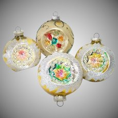 4 Glittered Indent Gold Yellow West Germany Christmas Ornaments
