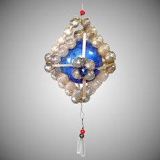 Czech Beaded Cobalt and Silver Caged Glass Christmas Ornament