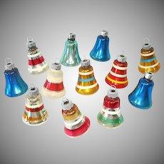 12 Small USA Glass Bell Christmas Ornaments