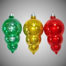 Paragon 1960s Triple Drop Glass Christmas Ornaments