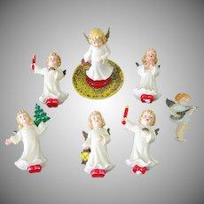 Assortment German Hard Plastic Angel Christmas Ornaments
