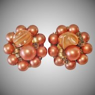 Salmon Color Bead Cluster Clip Earrings