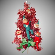 Pixie Elves Red Tinsel Door or Wall Tree