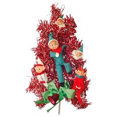 Pixie Elves Red Tinsel Door or Wall Tree