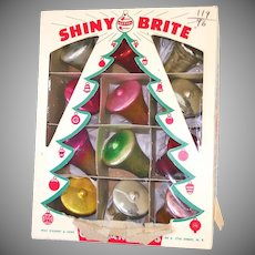 Box Shiny Brite Glass Bells Christmas Ornaments