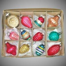 Box Vintage USA Shapes Glass Christmas Ornaments