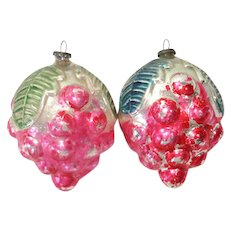 Pair 1920s Japan Fruit Berries Glass Christmas Ornaments