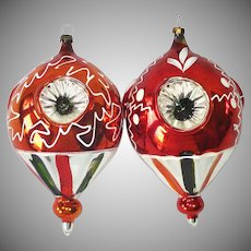1950s Blown Glass Triple Indent Balloon Christmas Ornaments