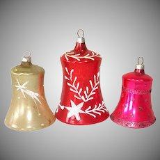 3 West German Blown Glass Clapper Bell Ornaments