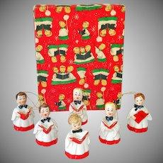 Box Choir Boy Porcelain Bell Christmas Ornaments 1950s Japan