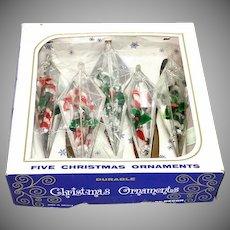 Box Jewel Brite Chenille Candy Cane Plastic Christmas Ornaments